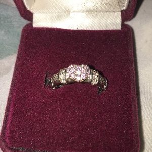 Sterling Silver Ring with heart of pink crystals
